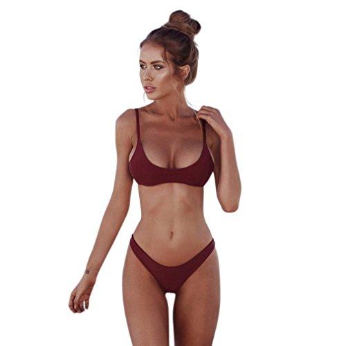 Bikini Set Damen Sexy Badeanzug Btruely Jahrgang Bikini Push Up Bandeau Neckholder Strand Bademode Mädchen Badeanzug Tankini Set (S, Weinrot) (Blauen Böden Badeanzug)