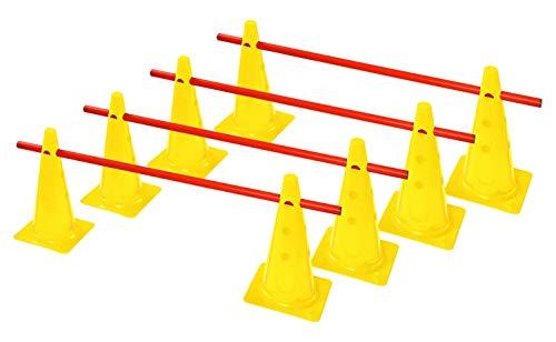 RHINOS sports Steckhürdenset, Kegelhürden 4er   30cm   gelb