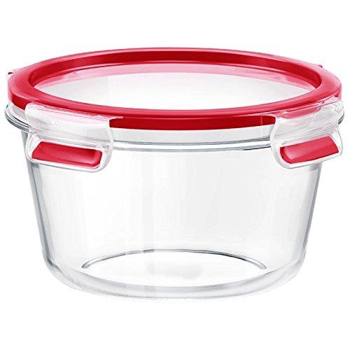 Emsa Runde Frischhaltedose (mit Deckel, Glas, 0,90 Liter, Clip und Close, 516243) transparent/rot - Runde Glas