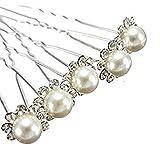 Accessoires cheveux coiffure mariage: 1 lot de 5 épingles à chignon perle beige à strass...
