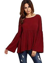 RETUROM Las mujeres atractiva de la manera floja del O-cuello de la manga del mandarín top de la blusa Camiseta