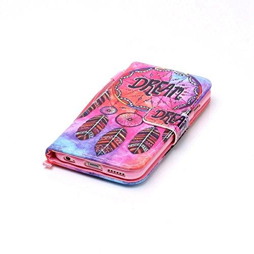 iPhone 6S Custodia, Felfy Flip in PU pelle Portafoglio Custodia Cover Gatto Design per Apple iPhone 6/6S, Portafoglio Wallet / Libro /Cuoio Chiusura Magnetica Porta carte di Protettiva Tasca Copertina C-Campanula Piuma