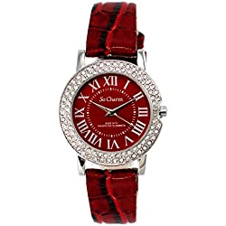 Red So Charm Bracelet Ladies Watch Made with SWAROVSKI CRYSTAL from