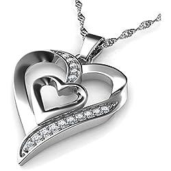 DEPHINI - Collar plata corazon - colgante corazon Plata de ley 925 con circón - colgantes mujer regalo mujer cumpleaños originales - regalo amor para mujer - cadena de plata con rodio de platino