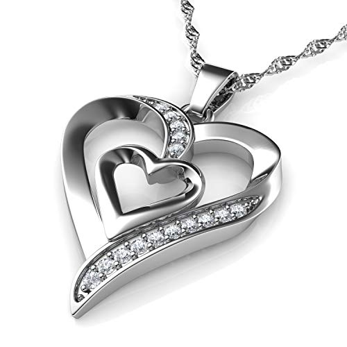 Dephini - collana con cuore - forma di doppio cuore ciondolo - con zirconia cubica - collana argento donna 925 - idea regalo per donne e ragazze