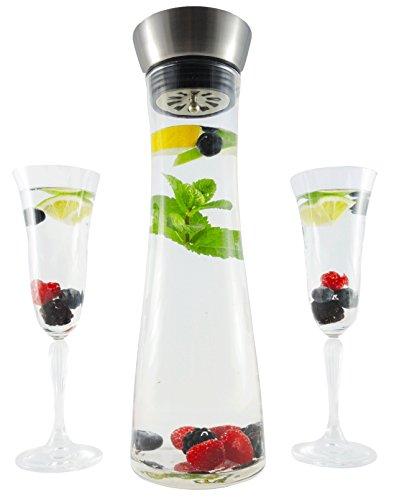 Carafe en verre, cruche à eau, pichet verre, 1 litre, avec bec verseur pratique en acier inoxydabl