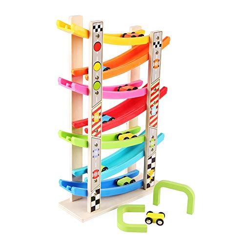 Xyanzi Kleinkindspielzeug Auto Rampe Spielzeug, Kleinkind Spielzeug Rennstrecke Bunte Holz Rennstrecke Rampe Mit 4 Mini-Autos Kleinkind Spielzeug Für 1 2 Jahre Alten Jungen Und Mädchen Geschenke - Spielzeug-rennstrecke