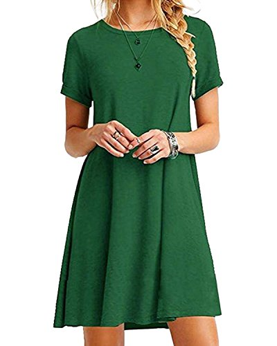 YOINS Sommerkleid Damen Tunika Tshirt Kleid Bluse Kurzarm MiniKleid Boho Maxikleid Rundhals Grün EU46