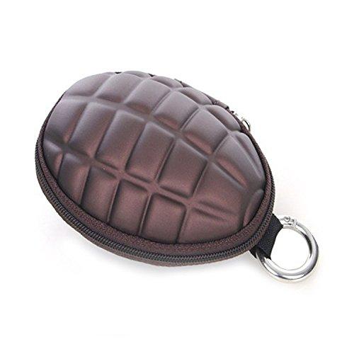 Litop Granate Stil tragbare Geldbörse Schlüssel Fällen Halter Tasche Bluetooth Kopfhörer in-Ear Reißverschluss braun Granate Fall