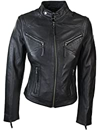 Ladies Real Leather Black Biker Style Fashion Jacket Size UK 6-20