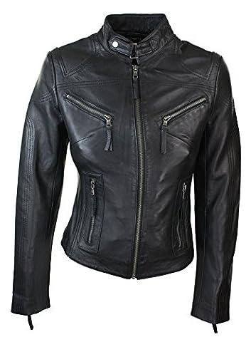 Veste perfecto femme cuir véritable noir style biker tailles XS-5XL