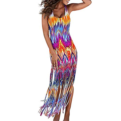 4ae5ddf33b99 Vestito Lungo Sexy Elegante Donna Decorazione a Frange Abito Senza Maniche  Vestiti Stampa Strisce Estate Vestiti