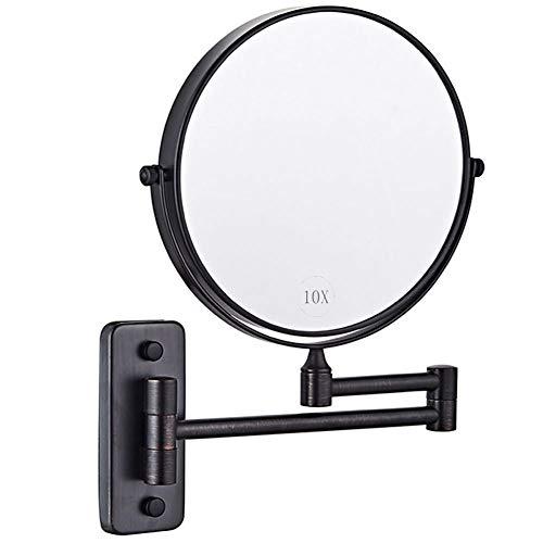 Espejo de Pared Negro, Espejo de Maquillaje 10x Aumento Espejo Cosmético Adjustable 360º, 8 Pulgadas...