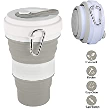 Idealife Taza Plegable Vaso Plegable Silicona - Botella Agua Plegable 3 Capacidades, Sin BPA,