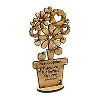 Personalised teacher flower gift wooden Oak Thank you