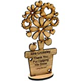 Personalised teacher flower gift wooden Oak Thank you