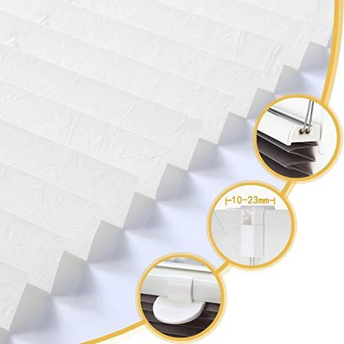 Deswell Plissee Rollo Jalousie ohne Bohren Klemmfix für Fenster & Tür Weiß 85 x 120 cm (Breite x Höhe), Plisseerollo Stoff Sonnenschutz leicht zu montieren & Verspannt