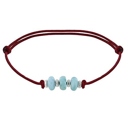 Schmuck Les Poulettes Armband Synthetisch Link 3 Blau Dominikanische Larimar Scheibe und Silber - Rote
