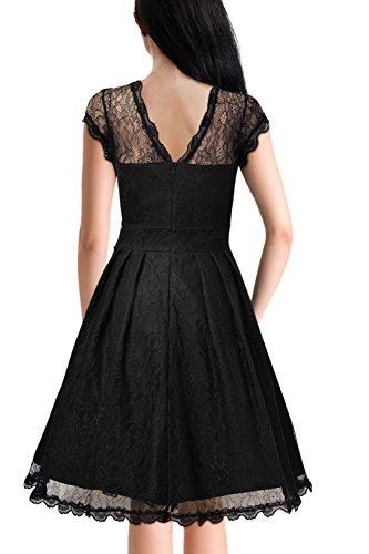 Des années 1940 Vintage élégant Sheer femmes Swing Party Dress Black