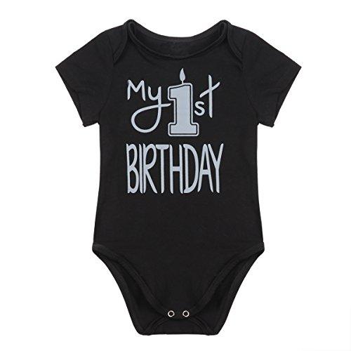 Neue Baby Klamotten (Tiaobug Neugeborene Body Baby-Mädchen Junge Babybody mit Aufdruck Baumwolle Kleidung - Baby Geschenk 1 Jahr Schwarz 18 Monate)