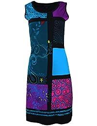 Mesdames robe sans manches multicolore avec des taches floraux et la broderie