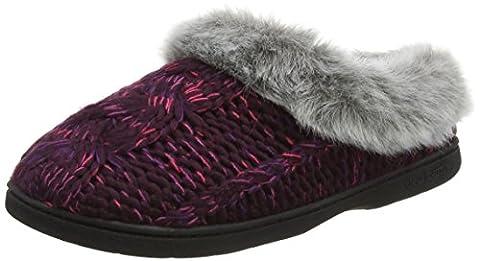 Dearfoams Women's Chunky Novelty Knit Clog with Memorry Foam Low-Top Slippers, Purple (Aubergine 00765), 5-6 Uk (38-39