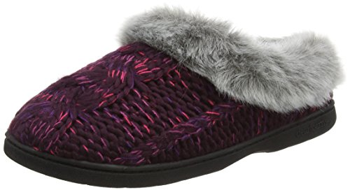 Dearfoams Damen Chunky Novelty Knit Clog with Memorry Foam Hausschuhe, Purple (Aubergine 00765), Large (Boot Knit Chunky)