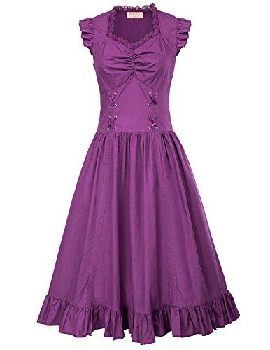 Damen Schwarz Rockabilly Kleid Spitze Sommerkleid Lang Cocktailkleid L ()