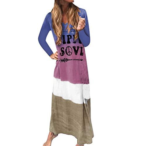 Mode Frauen Langarm Farbverlauf Tie Dyeing Brief Drucken Langes Kleid Langärmliges Kleid Mit Farbverlauf Und Hippil Sovl Print -
