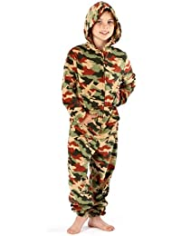 Boys Camo Print Warm Fleece Onesie All In One Pyjama Nightwear Loungewear 1973
