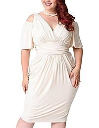 FAMILIZO Vestidos Tallas Grandes Mujer Fiesta Vestidos Tallas Grandes Mujer Verano Vestidos Sin Hombros Blanco Vestidos