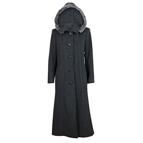 Damen Mantel Wollmix Kaschmir Damen Jacke Kapuze Kunstfell Lang Modisch Warm Neu Anthrazit