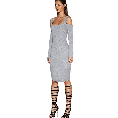 Longwu Bandage Backless Spaghetti Strap Bodycon Midi Robes Party Club des femmes Gris