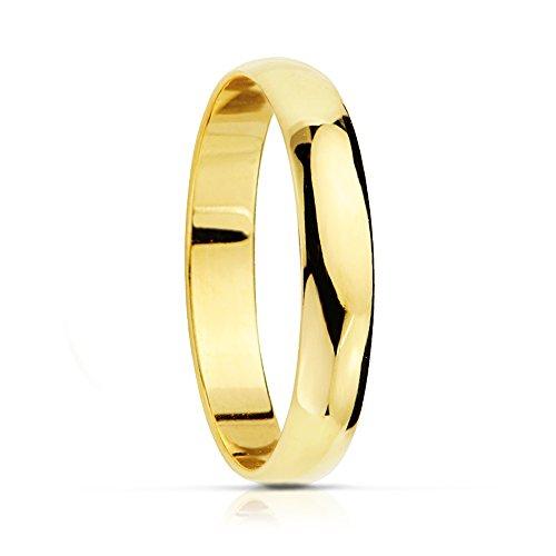 Alda Joyeros - Fedi nuziali in oro classico da 9 carati, 3mm, personalizzabile, con incisione inclusa