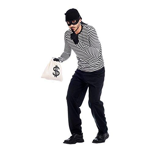 Kostüm für Herren Truand Nr Uzi36F-Bank 5teilig Hemd Hose Hut Maske Tasche Karneval schwarz weiß XL (Homme Noir En Blanc Costume)