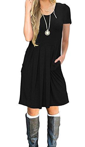 LILBETTER Damen Kurzarm-beiläufige Plissee Loose T-Shirt-Kleid (Schwarz M) (T-shirt T-shirt Kleid)