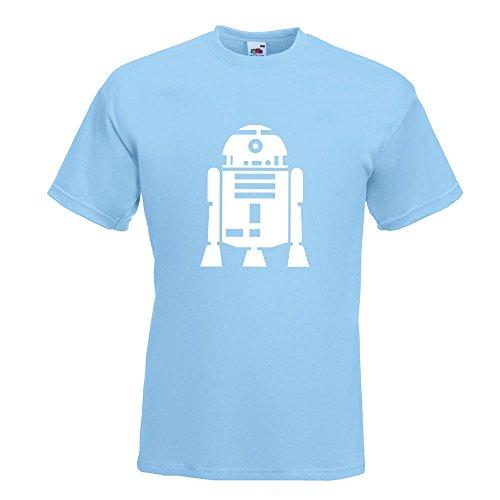KIWISTAR - R2D2 Astromechdroide T-Shirt in 15 verschiedenen Farben - Herren Funshirt bedruckt Design Sprüche Spruch Motive Oberteil Baumwolle Print Größe S M L XL XXL Himmelblau