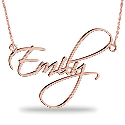 JOELLE JEWELRY Namenskette aus 750er Rosé Vergoldet Silber Personalisierte Namen Halskette mit Ihrem eigenen Wunschnamen(18K Rosé Vergoldet, 40)