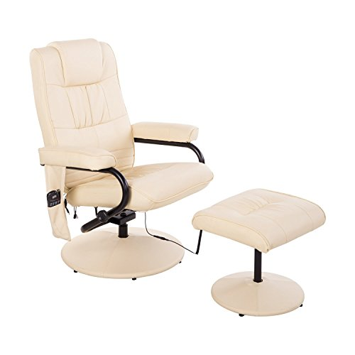 Homcom Massagesessel 921-006CW  inkl. Hocker Creme