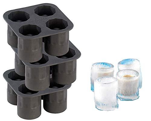 infactory Eiswürfelform: Silikon Eisglasform 3er-Set für 12 große EIS-Gläser 4 cl (Eisgläser selber machen)
