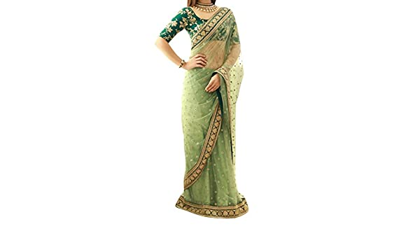01c3dd2b1a Isha Enterprise Women's Nylon Net Saree With Blouse Piece(KFPSN-14_Green):  Amazon.in: Clothing & Accessories