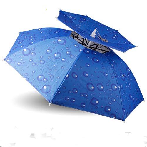 YUN MY GIRL Head-Mounted Schirmmütze im Freien Doppelschicht-Sonnenschutz-Eimer-Schirmmütze windundurchlässiger UV-faltender Regenschirmfischen-Sonnenhut/Durchmesser 80cm