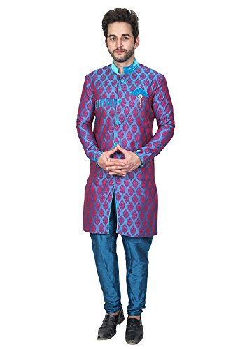Rajasi's Purple colour silk indo western kurta pyjama with patterns to add...