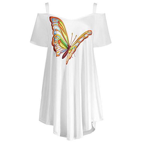iBaste Damen Chiffon T-shirt Schmetterling Floral Drucken Blusen Schulterfrei Kurzarm Oberteil Sommer Große Größen Weiß(Schmetterling)