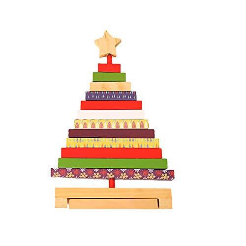 AchidistviQ Christbaumbausteine Design Ornament Weihnachten Fenster Vitrine Home Decor Weihnachten Kreative Stil hochwertige Holz Baumdekoration Ornamente, Holz, S