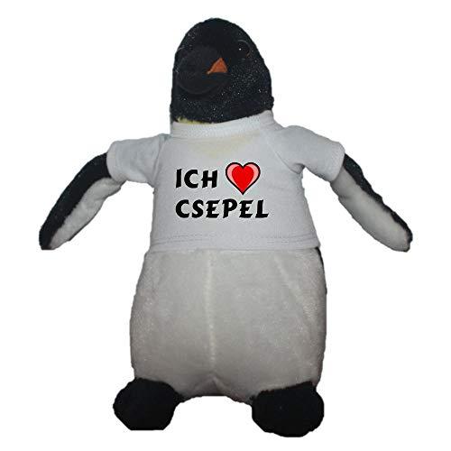 erter Pinguin Plüsch Spielzeug mit T-shirt mit Aufschrift Ich liebe Csepel (Vorname/Zuname/Spitzname) ()