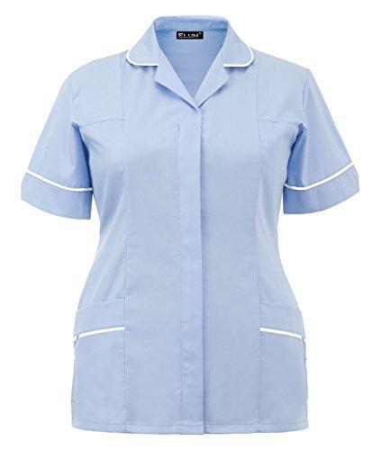 Elum® Frauen Krankenschwestern Tunika Medizinische Uniform Salon Tierarzt Gesundheitswesen Dienstmädchen Peeling Anzug (Himmel Blau, UK 12 = EUR 40) (Frauen Scrub Krankenschwester)