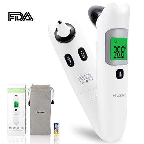 Hiveseen Fieberthermometer Stirnthermometer Ohrthermometer, 1 Sekunde Messzeit, Speicherfunktion, Hochtemperaturalarm, Infrarot Medizinisches Thermometer für Babys, Kinder, Erwachsene und Objekte
