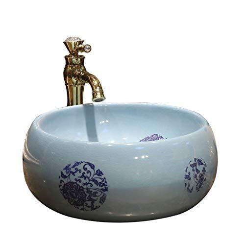 Badezimmer-rundes Waschbecken Retro kreatives Jingdezhen-keramisches Hotel Anti-Splash Waschbecken Waschplätze