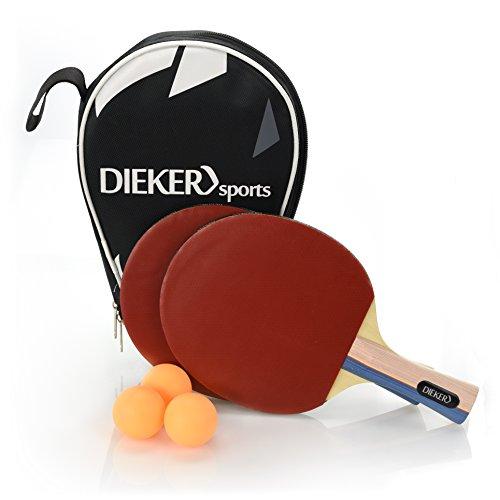 Dieker Sports Tischtennisschlaeger Set mit erstklassigem Spielgrip - 2 Tischtennisschläger + 3 hochwertige Bälle im Allround Tischtennis Set - Premium Ping Pong Zubehör Komplettset
